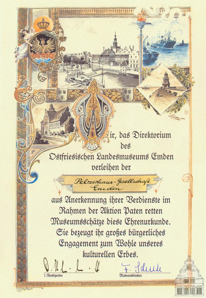 Urkunde des Landesmuseums für Museumspaten